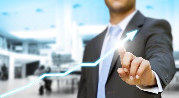 Businessman touching digital graph concept