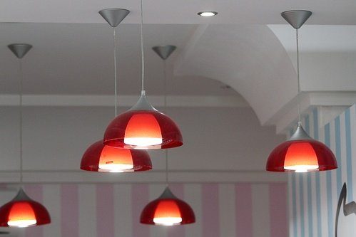 Red decorative hanging lights.