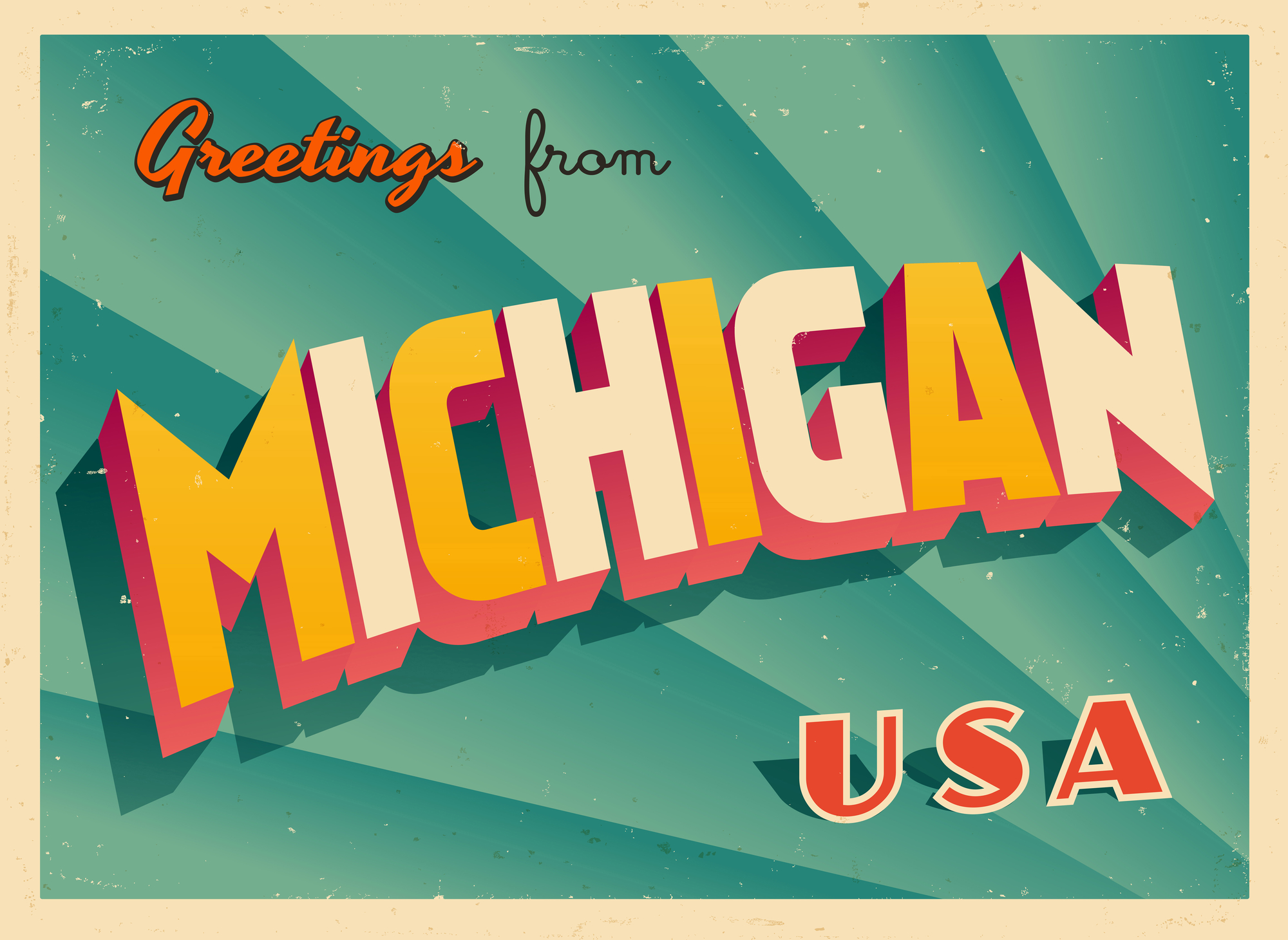 Touristic Greeting Card Michigan