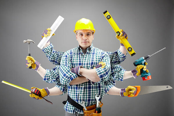 property maintenance, handyman with multiple arms and holding tools