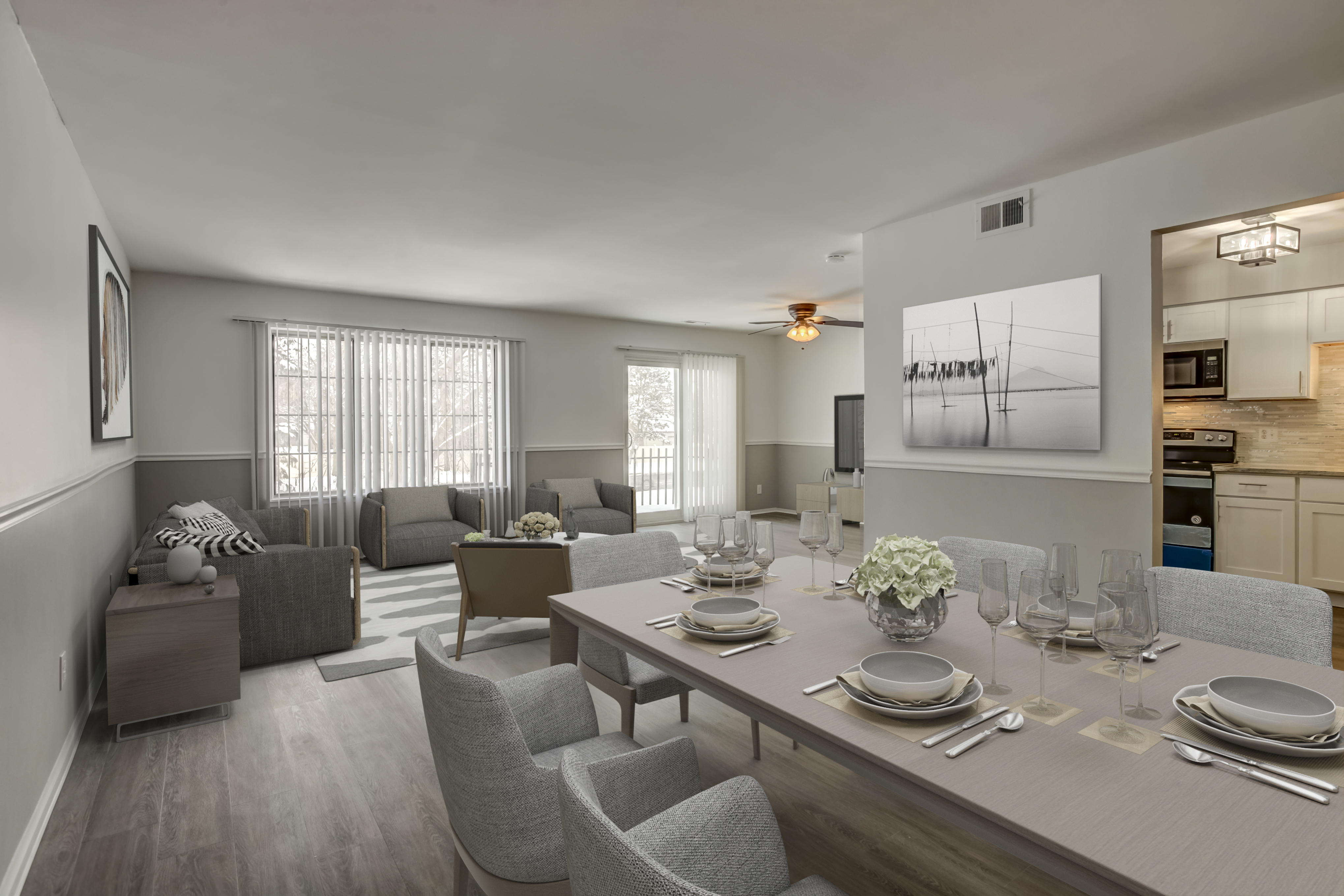 Staged Dining-living